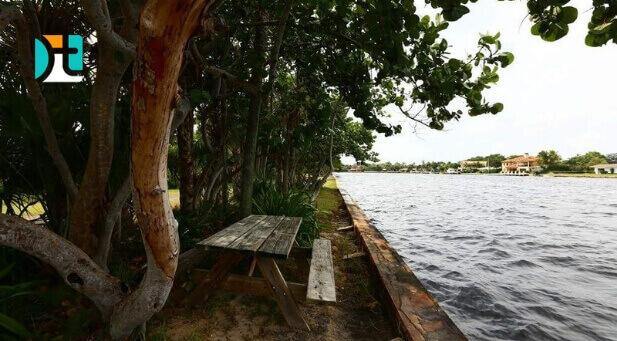 Banco ao lado de um lago