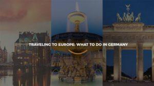 Três imagens juntas de pontos turísticos da Alemanha uma do lado do outra