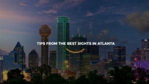 Vista noturna dos arranha céus de Atlanta